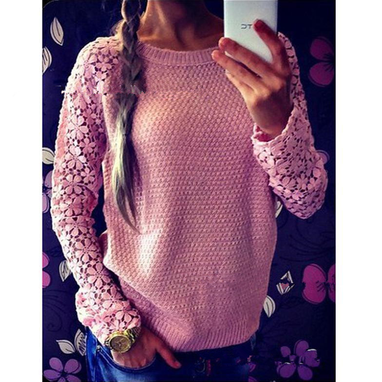 New Vintage Sweater Women Long Sleeve Hollow Out Lace Patchwork Knitting Sweater Women Pullovers Pull Femme Sweter Mujer(China (Mainland))