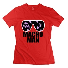 New Coming O-Neck Macho Man Randy Savage 80 S Women t shirt 2015 Normal women's t shirts(China (Mainland))