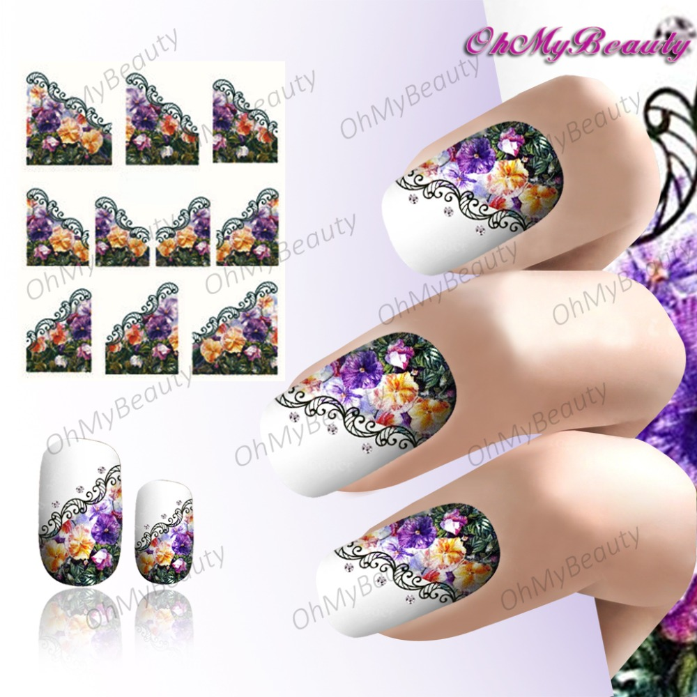 Violet Nail Art Beauty Nail Sticker French Dream Flower Water Transfer Nail Wraps Purple Nail Decals(China (Mainland))