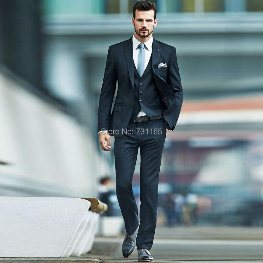 Wholesale- Navy Blue Slim Fit Men Suit Costume Homme Vest Formal ...