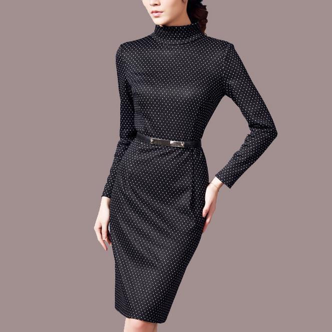 2014 autumn winter women fashion slim waist polka dot long-sleeve turtleneck dress free shippingОдежда и ак�е��уары<br><br><br>Aliexpress