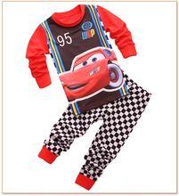 Lovely kids CARs pajamas set boys long sleeve spring autumn sleepwear clothing baby lovely pyjamas suit Free Shipping(China (Mainland))