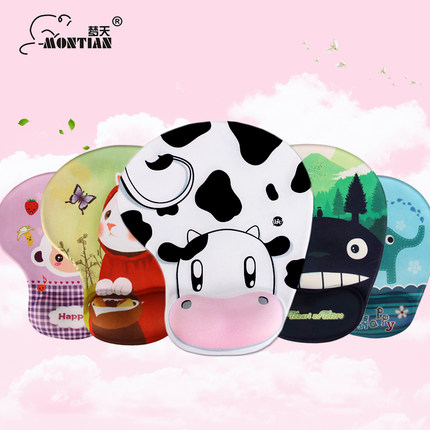 Soft comfortable mouse pad with wrist rest and various cartoon animal pictures for laptop and desktop computer(China (Mainland))