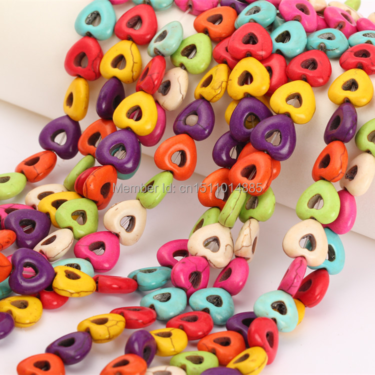 Free Shipping 15mm Colorful Love Heart Natural Howlite Beads Turquoise Stone Beads 105Pcs/Lot Charms Spacer Bead Handcrafts(China (Mainland))