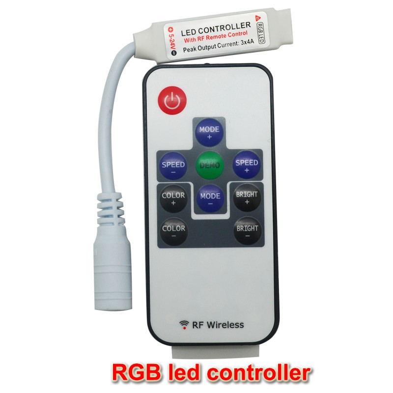 1pcs dc12V 24V 6a wireless mini rf rgb controller remote with DC female connector for led strips 5050 free shipping(China (Mainland))