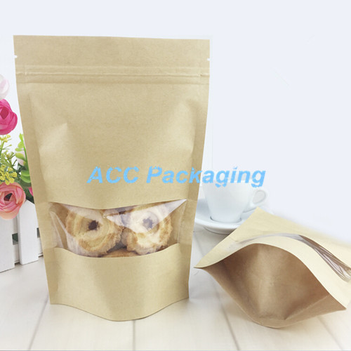3.5''x5.1'' (9x13cm) Small Kraft Paper W/ Clear Window Stand Up Pack Package Bag for Food Coffee Storage Resealable Zip Lock Bag(China (Mainland))