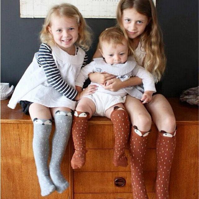Детские носки девушки колено высокие носки calcetines meias Infantil Детей лиса носки ...