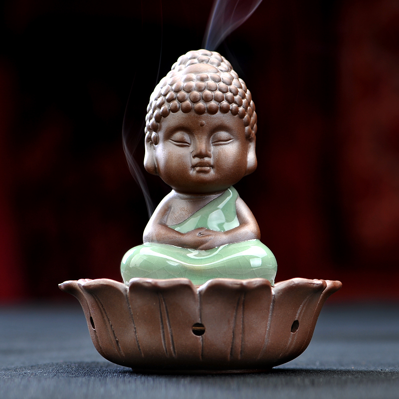 Ceramic Bodhi Lotus Sandalwood Incense Burner Buddhist Temple for Living Room Creative Furnishing Home DecorArticles Aroma Stove(China (Mainland))