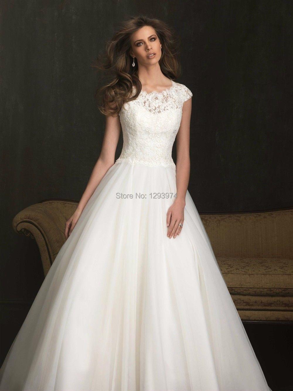 2015 Wedding Dress New White Ivory Short Sleeve Turtle