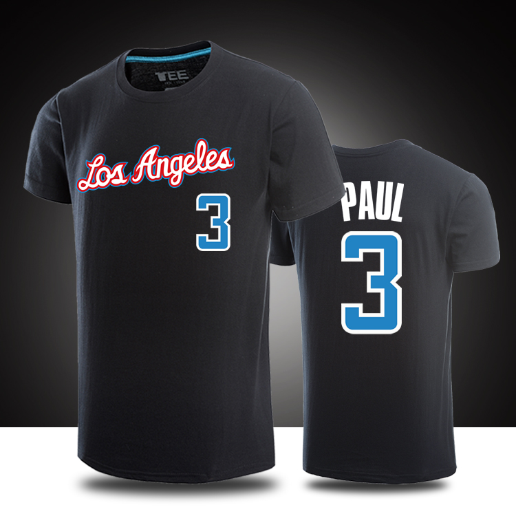 100% Cotton Summer T shirts Men Shorts Sleeve Clothing Brand Supper Star Chris Paul Tops Tees Casual Basketball Tshirts(China (Mainland))