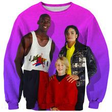 New Fashion 3D 90s People Pullover Jordan and Michael Jackson Print Sweatshirts Crewnecks Sweats Pullover For Women and Men(China (Mainland))