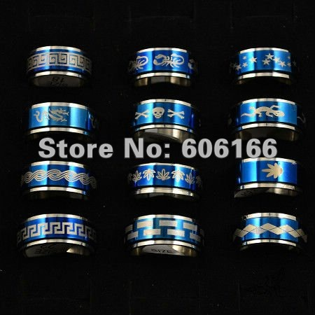 10mm Blue Plated Spinning Mens Ring Spinner Stainless Steel Rings Fashion Jewelry Size Mixed Free Shipping<br><br>Aliexpress