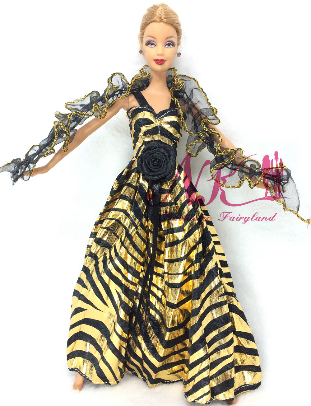 NK Latest Princess Golden Costume Lace Tippet Noble Get together Robe For Barbie Doll Trend Design Outfit Finest Reward For Lady' Doll 029B