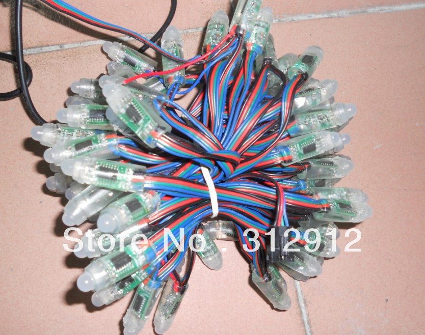 DC12 input WS2801 IP68 led pixel module,256scale gray,IP68;4wire (red/green/blue/black);100pcs string