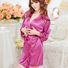 40Kg-90Kg Large Size Sexy Satin Night Robe Lace Bathrobe Perfect Wedding Bride Bridesmaid Robes Dressing Gown For Women Hot Sale(China (Mainland))