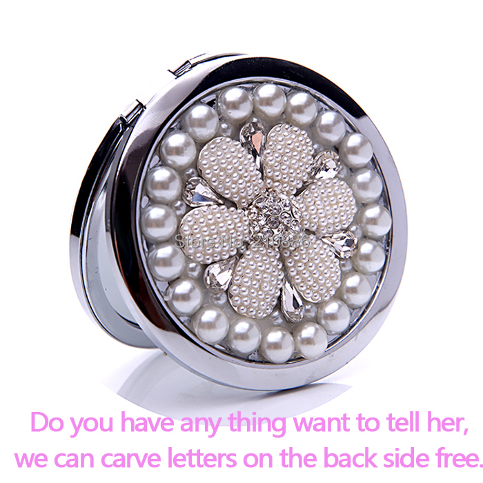Carve letters free,bling Crystal Mini Beauty pocket mirror,sunflower,stainless steel frame,makeup compact mirror,free shippin(China (Mainland))