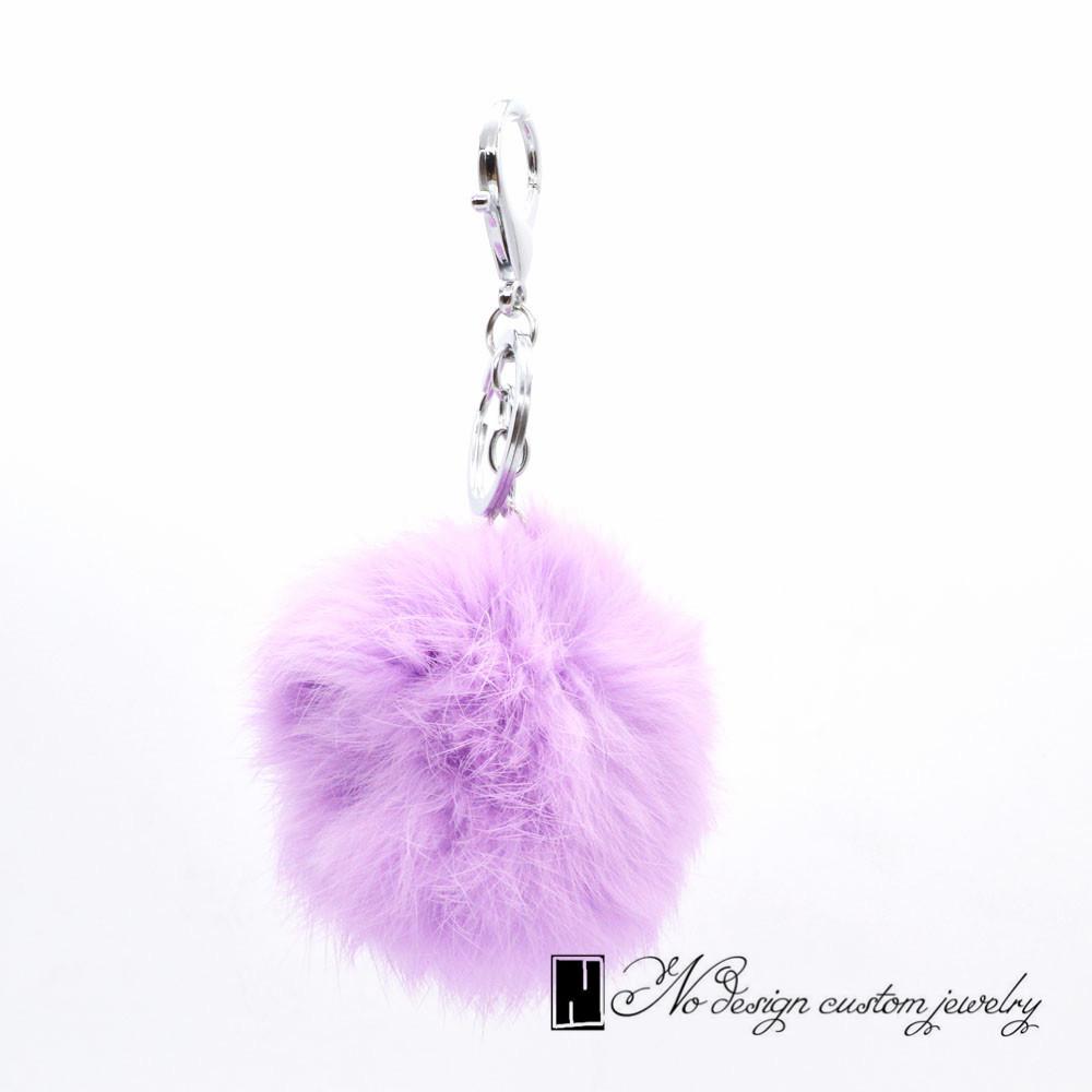 Genuine Rabbit Fur Ball Keychain!Fashion Charm Trinket Purple Furry Key Chain Ring Holder Bag Decoration Jewelry Kawaii Gift(China (Mainland))