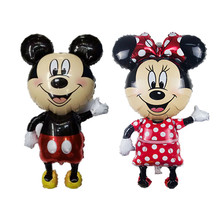 Large 112*64 cm Minnie Mickey foil balloons red Bowknot standing mouse Polka dot wedding birthday party decor supplies globos(China (Mainland))