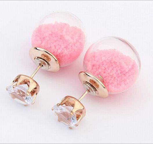 Excellent Quality! 6 color Nice New Fashion Earrings Handmade Beads Earrings Double Side Ball Earrings FOR Women YE862(China (Mainland))