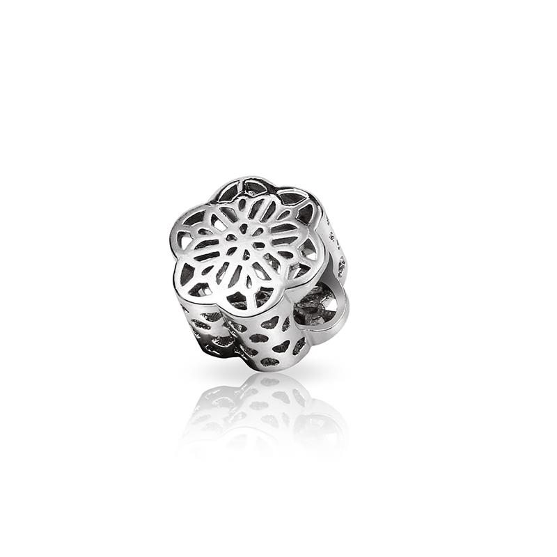 Hot Sale 925 Sterling Silver Bead Charm Fashion Hollowopen Snowflake Beads Charms Fit DIY Pandora Bracelets & Bangles YBD213(China (Mainland))