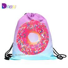 Neue 2015 escolar rucksack 3d-druck Reise softback Mann frauen mochila feminina kordelzug rucksack donut rosa(China (Mainland))