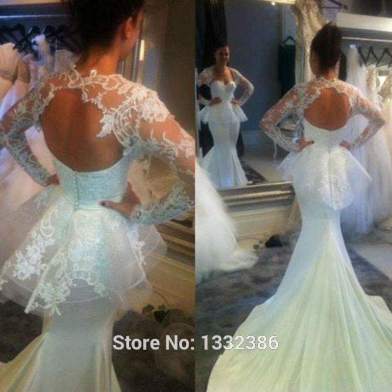 Wedding Dress Lace Cut Out Back : Hot peplum bridal dress cut out back lace mermaid wedding