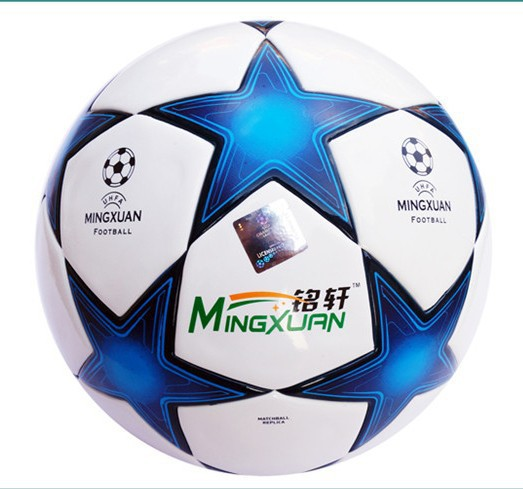 New arrival New European champion league Soccer ball Excellent football ball PU size 5 Blue football Free shipping(China (Mainland))
