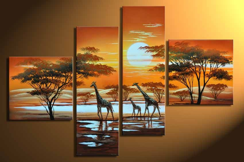 hand painted oil painting on canvas 4 piece canvas wall