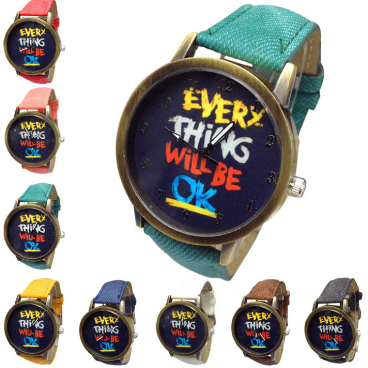 Hot Marketing Hot!2015 Unisex Watches Casual Fashion Jean Strap Will Be Ok Watches June10(China (Mainland))