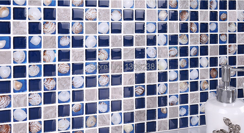 Grey glass mosaic tile backsplash