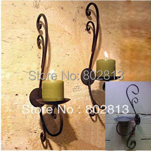 Pure Handmade Vintage Rural Wall Mounted Candle Holders Home Garden Holiday Decoration 2pcs More Color(China (Mainland))