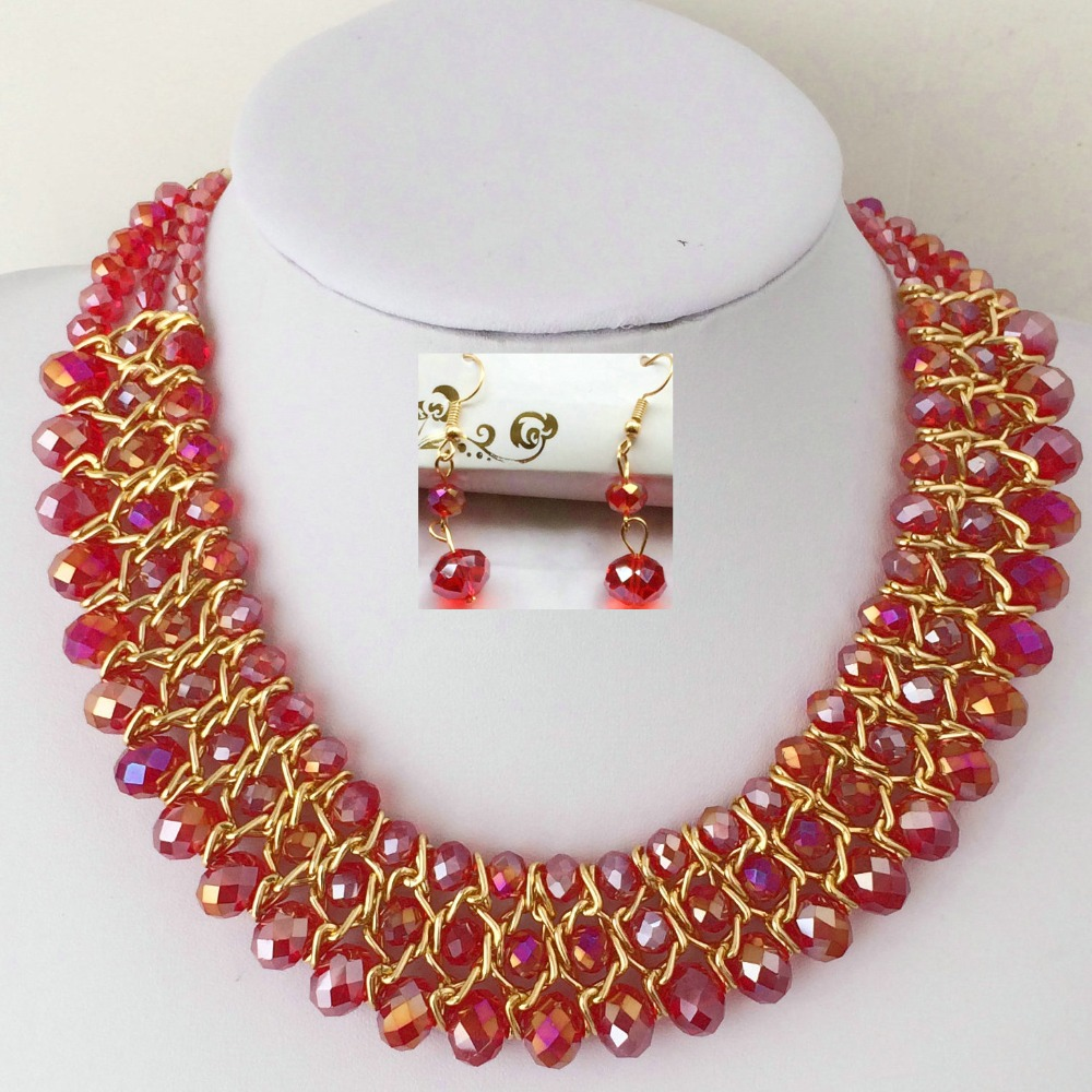 Fashion Austrian Red Rhinestone Women Crystal Vintage Metal Chain Choker Necklace With Earrings For Statement Jewelry Sets(China (Mainland))