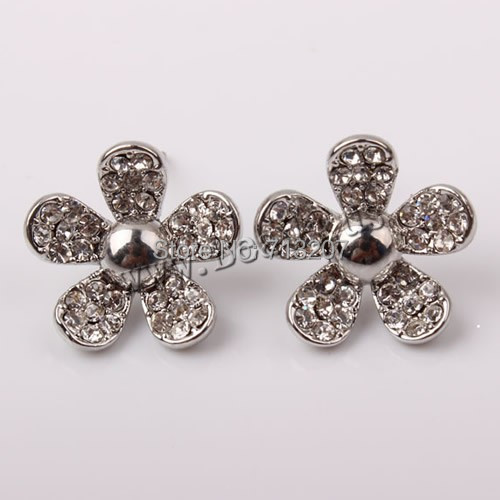 Free shipping!!!Zinc Alloy Stud Earring,new arrival, stainless steel post pin, Flower, plated, with Czech rhinestone<br><br>Aliexpress