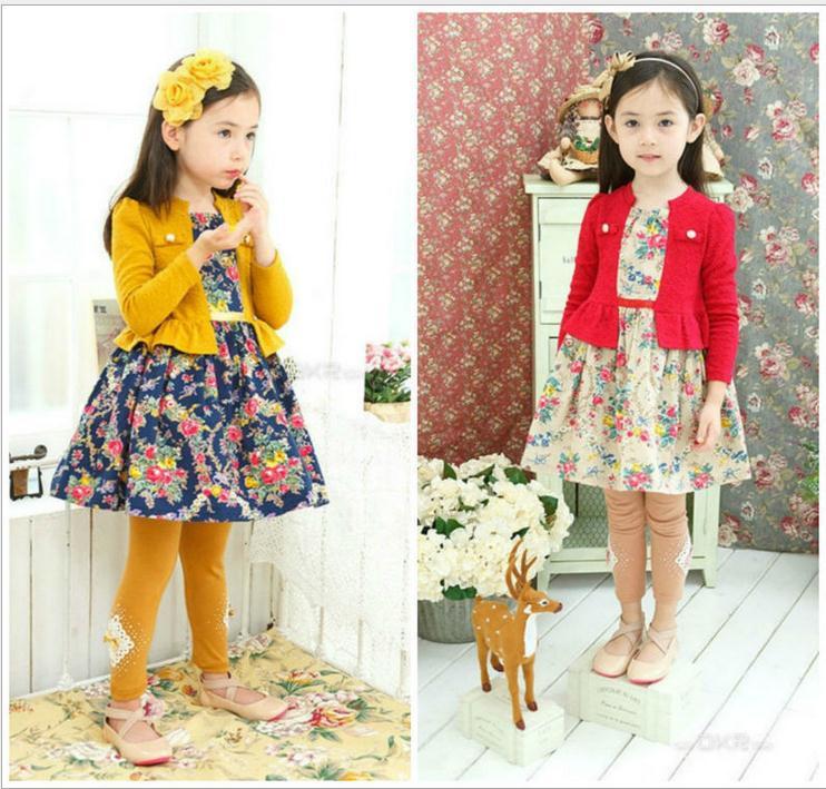 2016 Wholesaler Hot Sale New arrive Autumn Girl cotton Clothing Dress, kids girl long sleeve baby flower dress free shipping(China (Mainland))