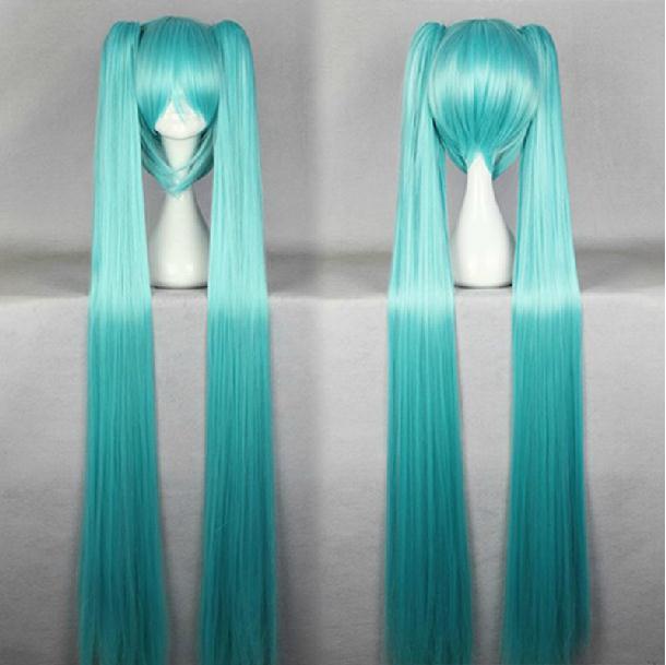 130cm Long Light Blue/Blue/Black/Green/Yellow Double Хвосты VOCALOID Hatsune Miku Cosplay парик Straight Halloween Party Hair