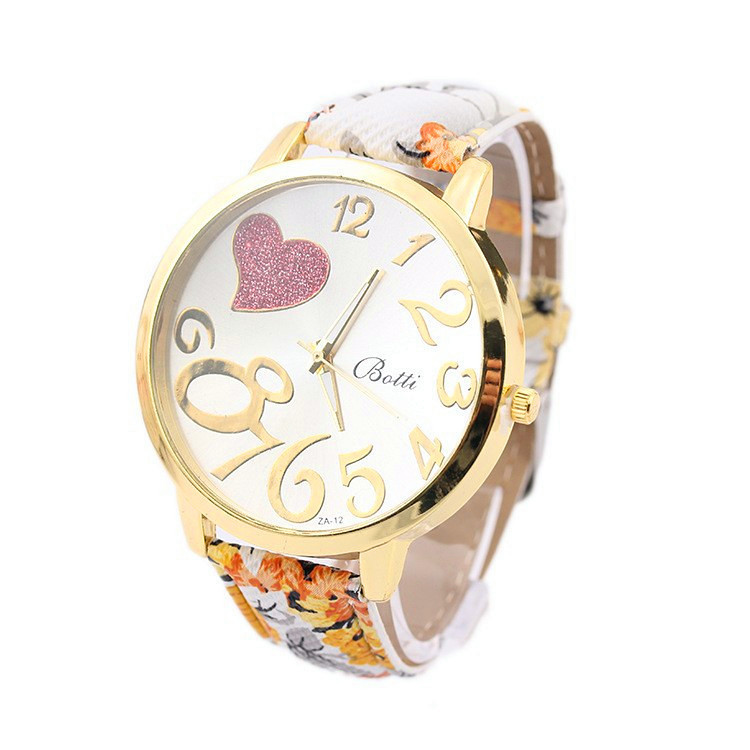 Гаджет  2015 New Elegant Crystal Heart Women Watch Generous Large Numeral Dress Wristwatch Floral Strap Quartz Casual Watches RelojClock None Часы