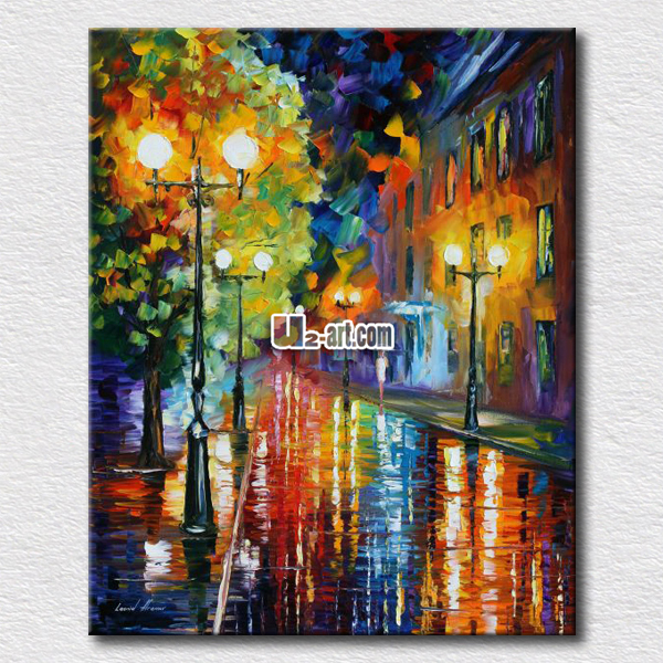 Palette knife oil painting of night street scenery canvas prints picture wall arts for modern home decoration(China (Mainland))