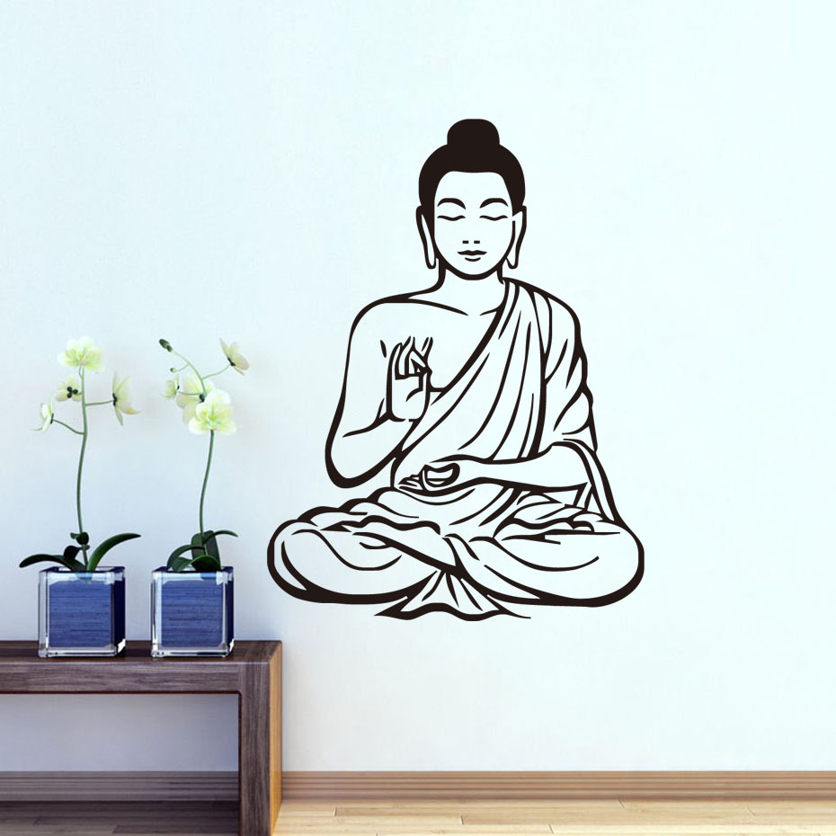 DCTOP Most Popular Buddhism Buddha Vinyl Wall Stickers Home Decor Removable Art Decals For Living Room Wallpaper(China (Mainland))