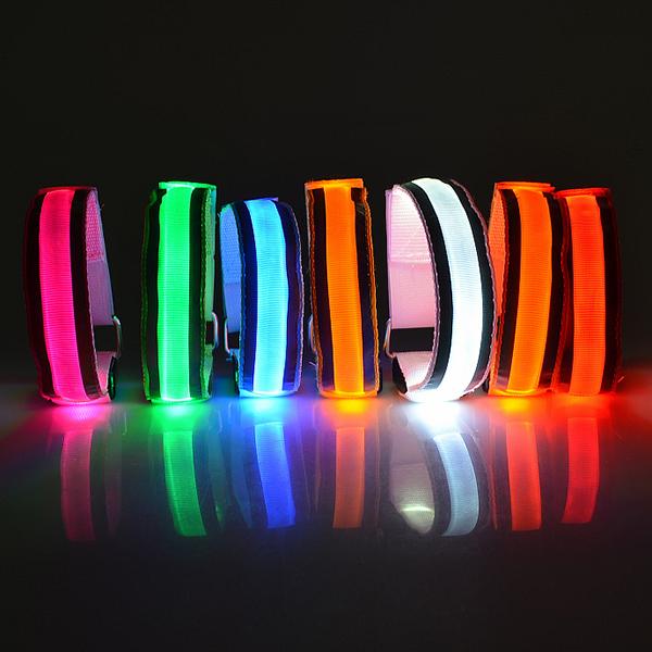 New Bike LED Safety Sports Reflective Belt Strap Snap Wrap Arm Band Armband(China (Mainland))