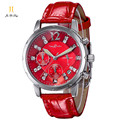 Brand Luxury Fashion Casual Dress Watch Women s Quartz Gem Stone Wrist Watches Calendar Chronograph Leather