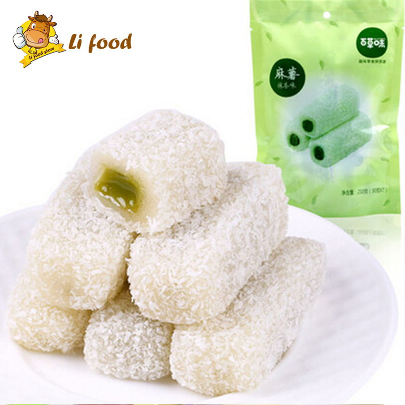 Chinese food, hand-made Chinese mochi, bagged Snack, 210 gram 1 piece,Green tea flavor ,imported china food<br><br>Aliexpress