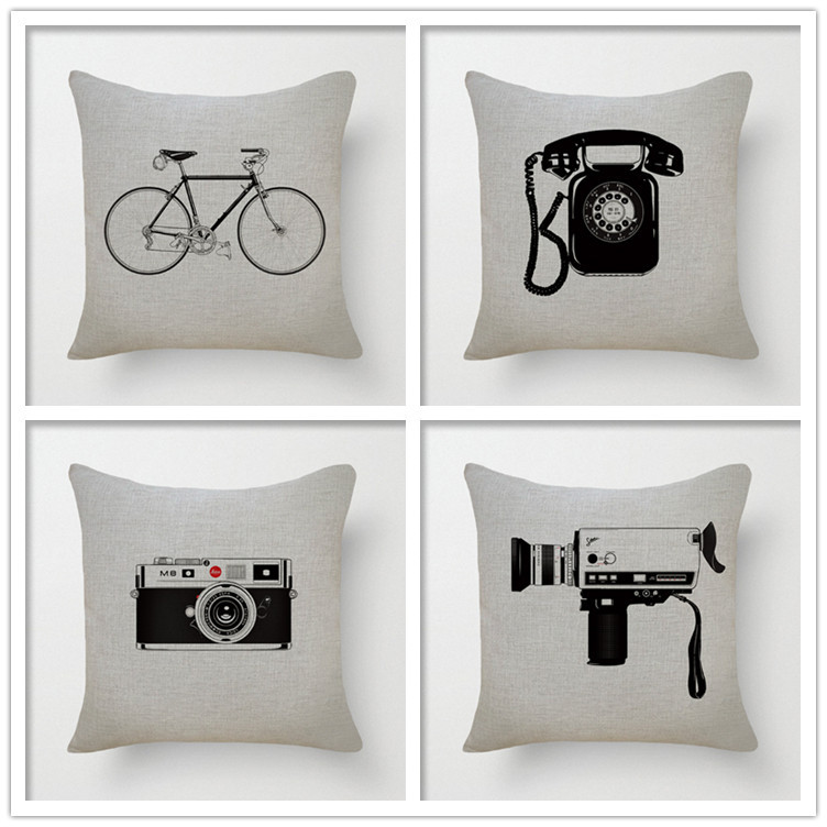 "Home Decor Sofa/ Bed Cushion Cover Pillowcase Throw Pillow 18 ""Antique Phone Bicycle Camera Decorbox Linen Square Cotton YK679(China (Mainland))"