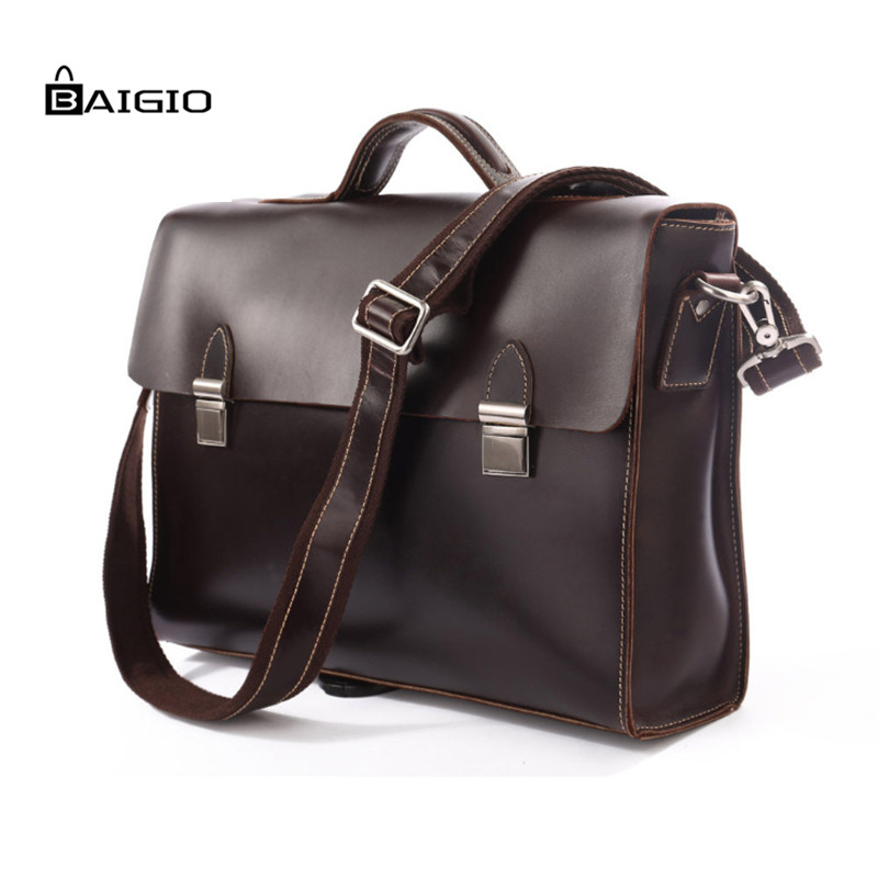 "Baigio Italian Leather Laptop Bags Men 14.5"" Business Briefcases Brand Designer Men Messenger Bag Leather Tote Shoulder Bags(China (Mainland))"