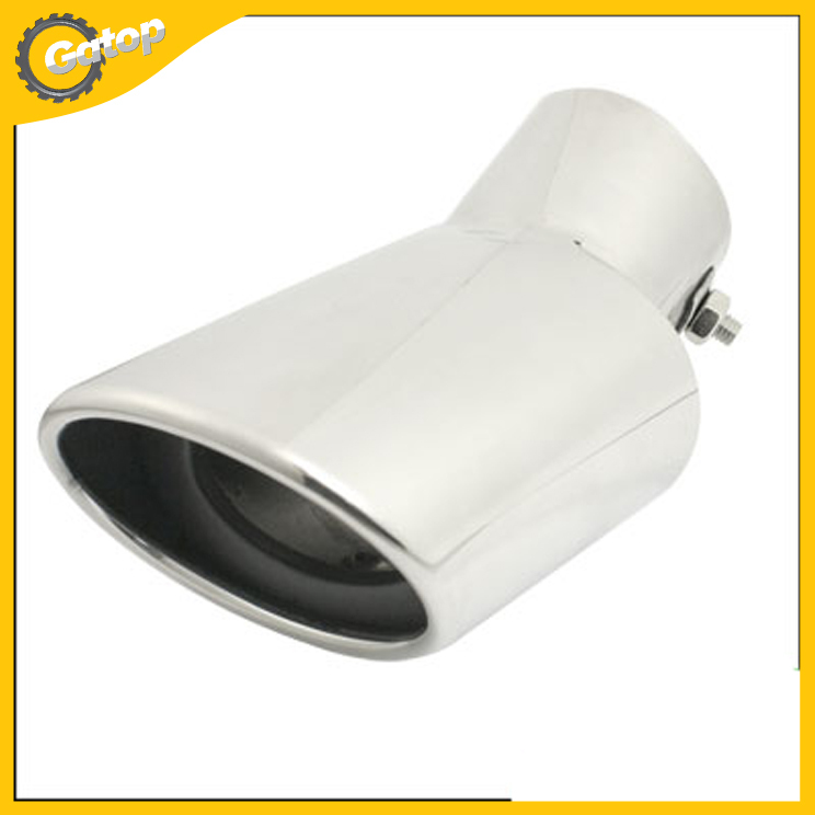 Silver Oval Slanted Tail Exhaust Pipe Muffler Tip Auto Vehicle 17cm Stainless Steel Mondeo Sportage Car Styling