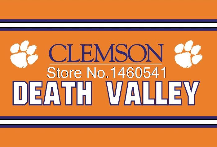 Clemson Tigers Death Valley Flag 3ft x 5ft Polyester NCAA Banner Georgia Bulldogs Flying Size No.4 144* 96cm QingQing Flag(China (Mainland))