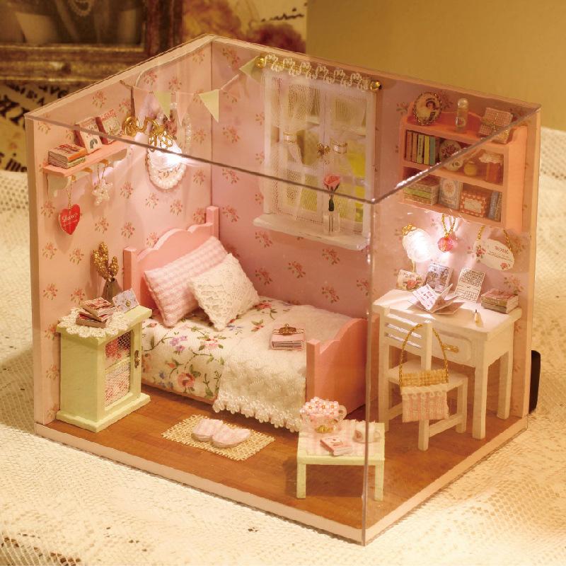 3d De Madeira Diy Caixa Casa Brinquedo Casa De Boneca Em Miniatura Miniaturas M Veis Para