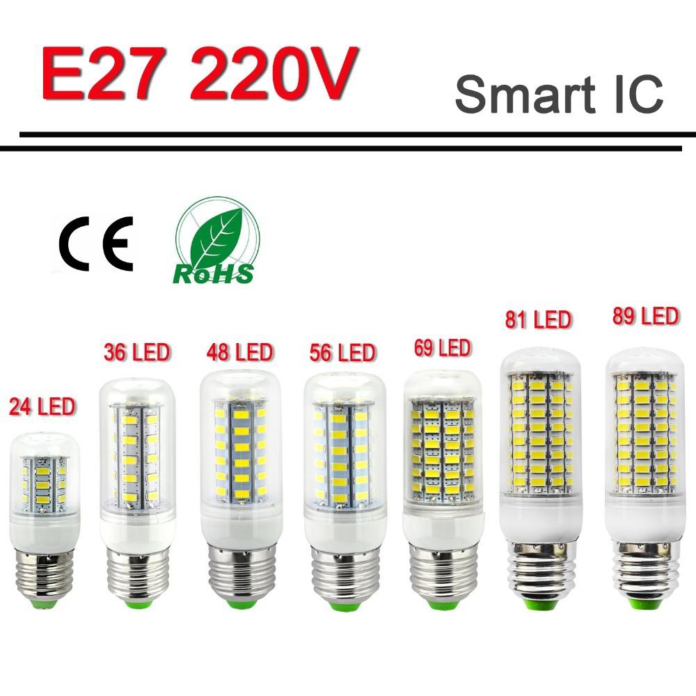 Smart IC Drive E27 220V Led Light 24 36 48 56 69 81 89Leds 5730 Corn Bulb lampada led Lamps CE ROHS Lighting(China (Mainland))