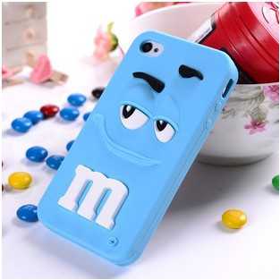 Free Shipping High Quality M&M's Chocolate Candy Rubber Silicone Soft Case Cartoon Cell Phone Case Covers For iphone4 4s(China (Mainland))