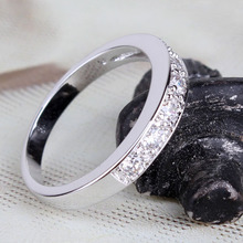 2015 Plain Wedding Rings Vintage Ring 18K White Gold Plated Round Cut White Crystals Zircon CZ