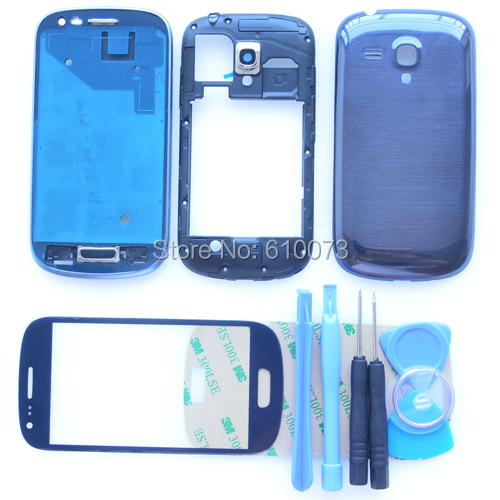 Original i8190 Blue White Full Housing Cover for Samsung Galaxy S3 mini Full Housing Middle Frame +Front Glass +Tools(China (Mainland))